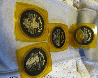 Set of 4 Plastic Amber and Black Coasters with Stand from Niagara Falls Canada Vintage