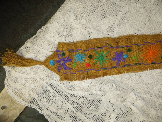 Burlap And Yarn Yard Stick Holder Vintage Wall Hanging Bright