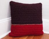 Chunky Crochet Throw Pillow Burgundy/Red, Decorative Pillow, 18 x 18