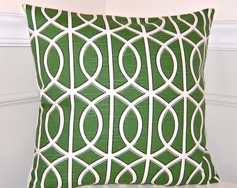 Green Geometric Throw Pillow Cover, Green and White Cushion Cover, 16x16 Throw Pillow