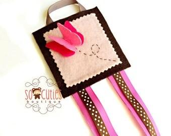Pink Butterfly Felt bow Holder organizer / hair clip organizer.