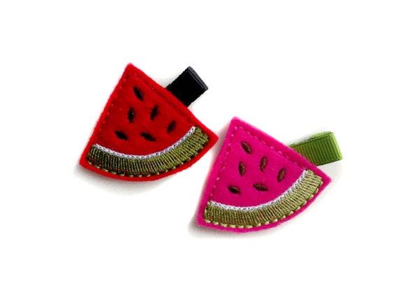 Watermelon felt embroidered hair clip, baby hair clip, girl hair clip, barrette