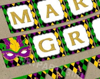 Mardi Gras Party Banner - DIY U Print - Instant Download