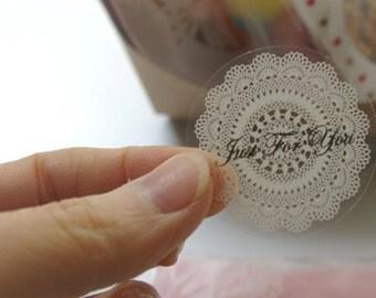 Transparent Circle Lace Sticker (16ea)