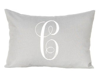 Personalized Gift- Monogrammed Pillow Cover- Letter Pillow - Solid Gray Pillow-  Grey Pillow - 12 x 16