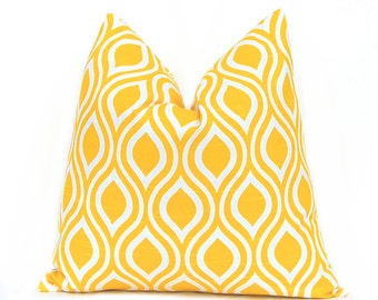 Decorative Throw Pillow Cover ONE 22 x 22 Inches - Yellow and White Nicole Yellow Pillows Cushion Cover