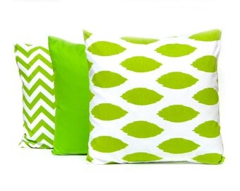 Bright Green Pillow Covers - Set of Three - Green Ikat Pillow - Solid Green Pillow Covers - Green Chevron Pillow Cover - Green Cushion Cover
