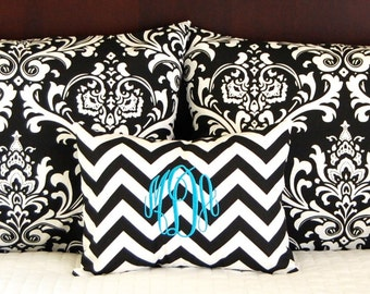 Pillow Shams - Dorm Decor - Black Decorative Throw Pillow Covers - Standard Full Queen Bedding - 19 x 25 Includes Monogrammed Pillow Cover