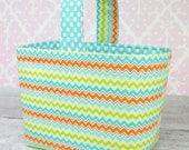 Easter Basket Fabric Storage Container Bin-  Riley Blake Dress up Days Chevron in Aqua Orange