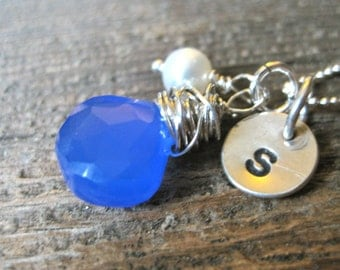 Initial Necklace - Blue Briolette and Pearl -  Stamped By Rawkette