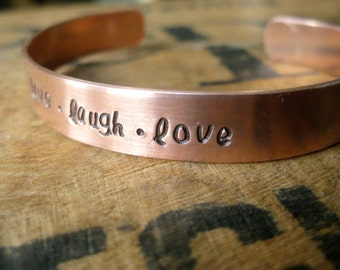 """Your Favourite Quote - Hand Stamped 3/8"""" Copper Cuff - By Rawkette"""