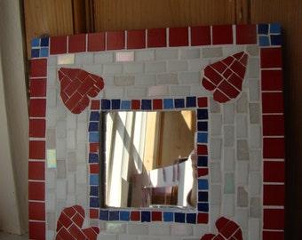 Moasic heart mirror.
