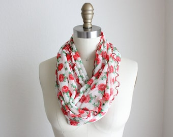 Red Floral Ruffled Sheer Infinity Scarf.