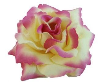 Light Yellow Purple Rose flower Hair Clip 4 Inch.