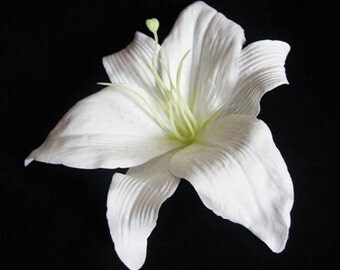 White Lily Flower Hair Clip Large 8.00 Inch.