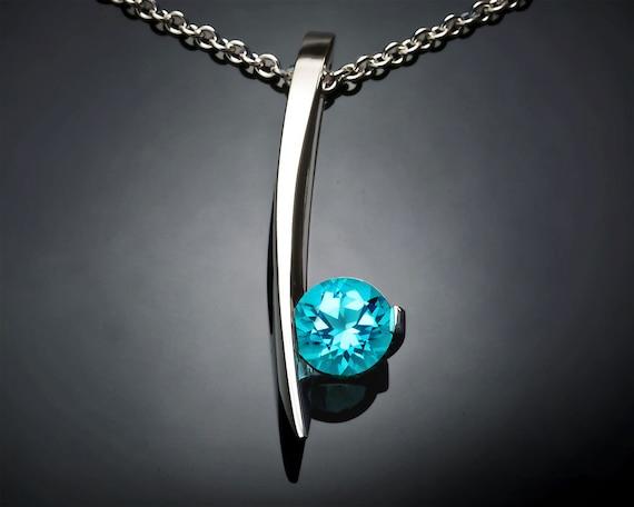 blue topaz necklace, turquoise blue topaz, silver pendant, modern necklace, December birthstone, artisan jewelry - 3458
