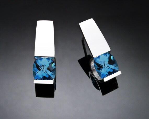 blue topaz earrings, December birthstone, London blue topaz, gemstone earrings, wedding earrings, birthday gift for her, tension set - 2431