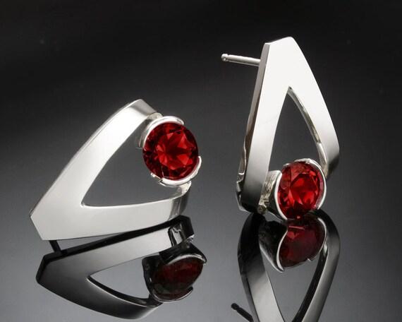 garnet earrings, January birthstone, Mozambique garnet, Argentium silver earrings, red earrings, Christmas earrings, tension set - 2470