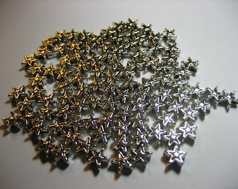 Stars 6mm Pkg 50,jewelry supplies,wheel spacer,jewelry spacer,jewelry accent,jewelry adornment,jewelry stars,star spacers,beading stars
