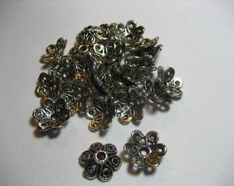 Flower Bead Caps,findings,jewelry supplies,antiqued bead cap,bead accent,bead supplies,jewelry accent,bead cap,bead adornment