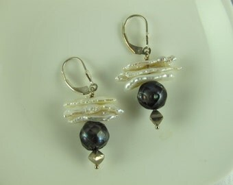 Pearl Earrings, Dangle Earrings, White Stick Pearls Combined with Dark Gray Faceted Pearl and Sterling Silver Bicone, Leverback Earwires