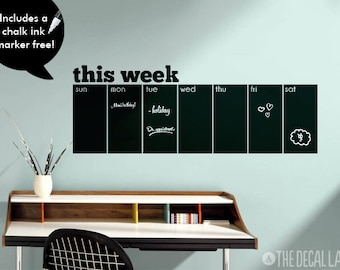 Weekly Wall Decal Chalkboard Calendar - Free Chalk Ink Marker - Blackboard This Week Calendar Wall Decal CHK-WCAL1