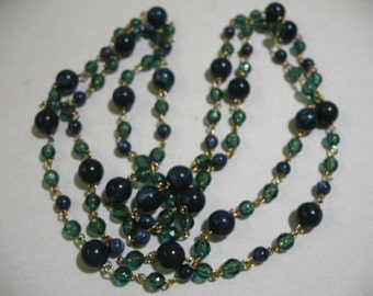 Vintage Necklace with Green and Blue Plastic Beads