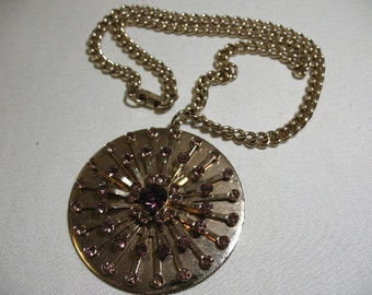 Vintage Necklace with Large Pendant Medallion with Purple Rhinestones, 1960's