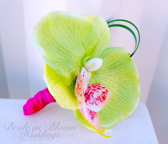 Orchid Boutonniere lime green hot pink Wedding boutonnieres