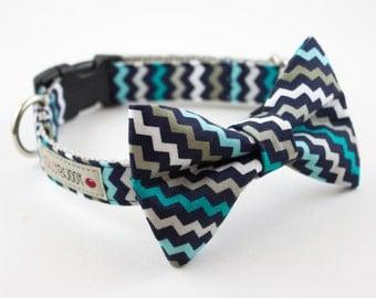 Blue Chevron Dog Bow Tie Collar