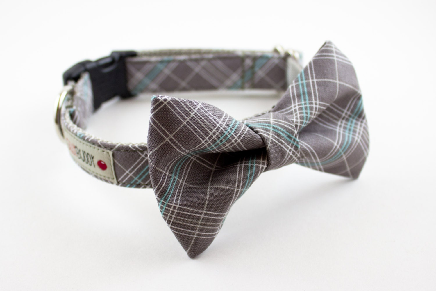 grey plaid bow tie collar