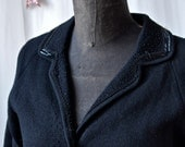 Vintage Sweater Jacket 50's Cardigan-Black Zephyr Wool Knit and Beaded Cardigan With Knit Buttons Lined in Silk