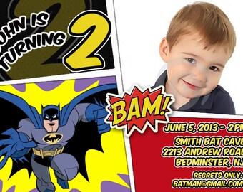 BATMAN Invitation - Batman Birthday Party - Batman printable invite, Batman invite - Batman picture invitation