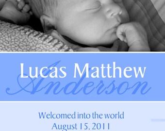 Adorable Baby Boy Birth Announcement, 5x7 DIGITAL file, diy print, baby girl pink birth announcement