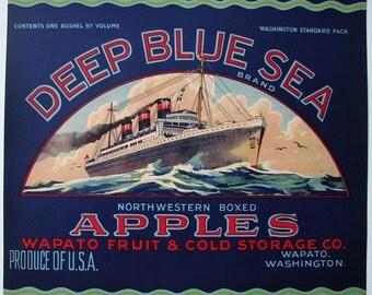 1920s Deep Blue Sea Ocean Liner Ship Nautical Apple Crate Label Wapato WA