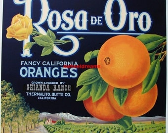 1930s Rosa de Oro Rose of Gold CA Citrus Oranges Ghianda Ranch Crate Label