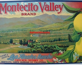 1920s Montecito Valley Las Fuentes Rancho Santa Barbara CA Antique Citrus Label Crate
