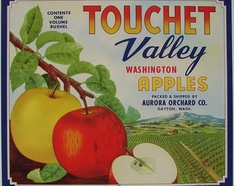 1940s Touchet Valley Red Yellow Apples Dayton WA Crate Label Kitchen Decor
