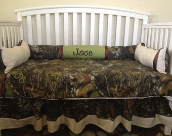 Camo Mossy oak and Sage and Ivory 4 pc crib bedding Set with Minky Dots and FREE Monograms