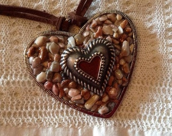 Brown and Tan Stone Heart Necklace