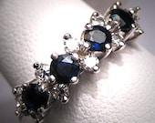 Vintage Sapphire Diamond Wedding Ring Band Art Deco