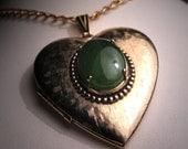 LRG Antique Vintage Jade Heart Locket Pendant Necklace