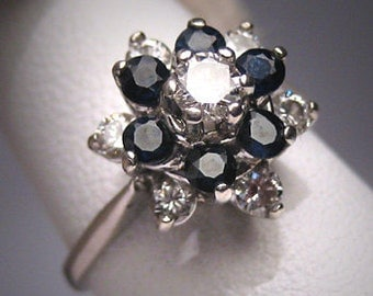 Antique Vintage Sapphire Diamond Wedding Ring Retro 14K White Gold Engagement
