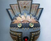 Deco Techo Kachina Steampunk Mask in Metalics, Silver, Gold, Bronze, Copper Polymer Clay