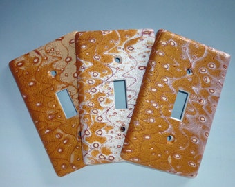 Earth Tone Switchplate Polymer Clay in Gold, Copper, Ecru and Pearl
