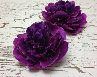 Silk Flowers - Two Peonies in Deep Raspberry Purple - Smaller Size - 3.75 Inches - Budget Flowers