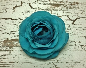 Silk Flowers - One Turquoise Silk Ranunculus - 3.5 Inches - Artificial Flowers