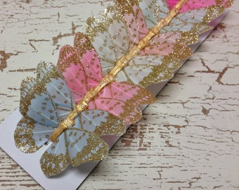 Feather Butterflies -12 Vintage Inspired Butterfly Embellishments in Soft Pastels - 3 Inch Size - Artificial Butterflies