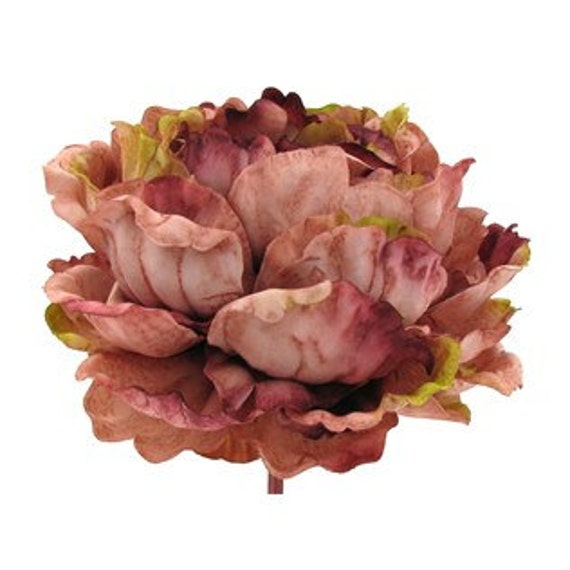 Silk Flower Jumbo Peony in Shades of Rose and Mauve - 7 Inches Artificial Flower