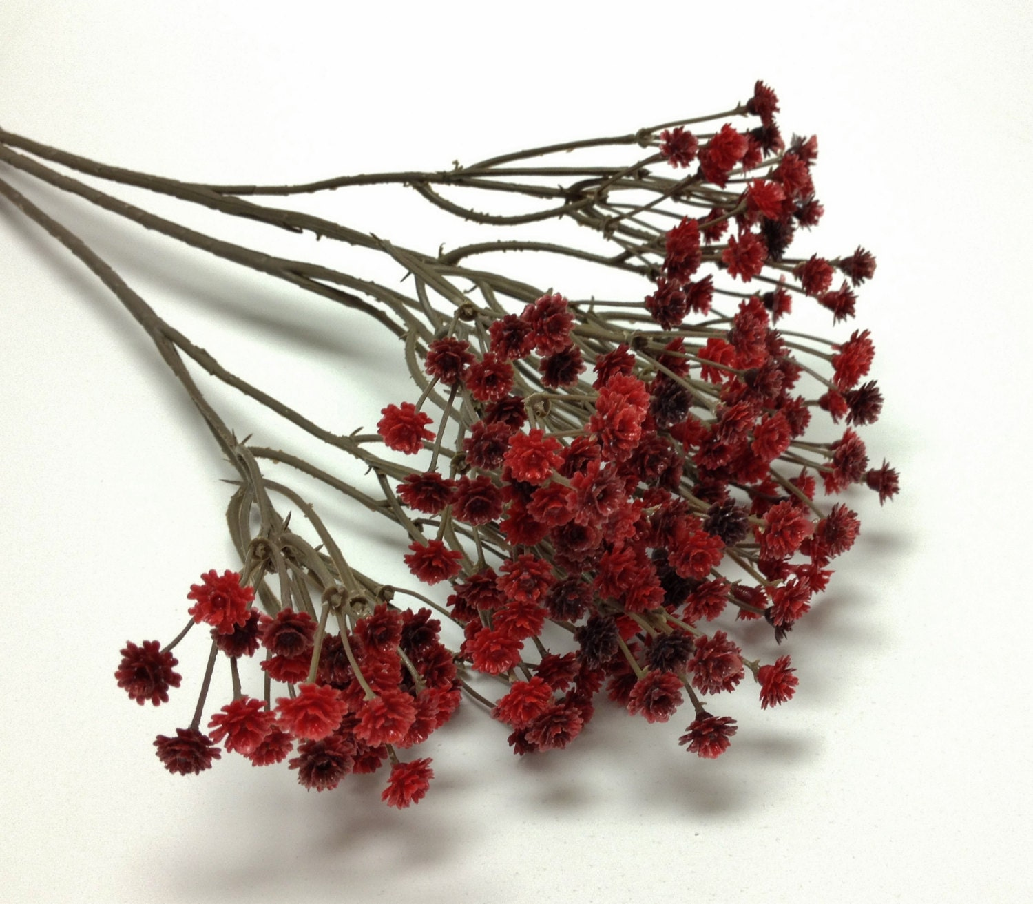 Burgundy RED Plastic Babys Breath Gypsophila